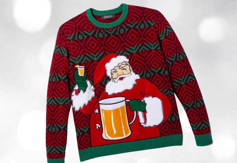 Ugly Christmas Sweater - Santa with Beer Mug